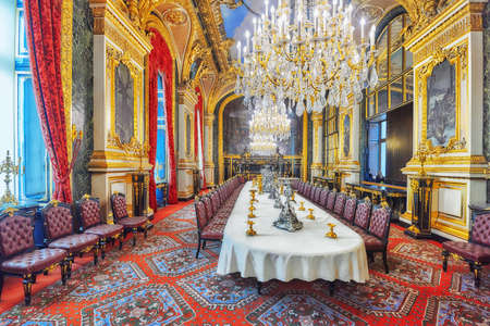 napoleon iii: PARIS, FRANCE - JULY 03, 2016 :  Apartments of Napoleon III. Large dining room. Louvre Museum is the biggest museum in word with nearly 35,000 exhibits.