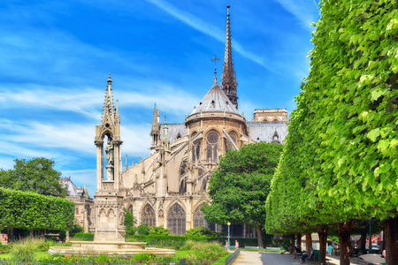 PARIS, FRANCE - JULY 08, 2016 : Notre Dame de Paris Cathedral, most beautiful Cathedral in Paris. East side of the Cathedral. France. Editorial