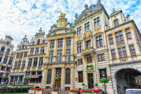 BRUSSELS, BELGIUM - JULY 07, 2016 : Grand Place (Grote Markt) - central square of Brussels. It is surrounded by  guildhalls and two larger edifices, citys Town Hall, Breadhouse. Brussel.