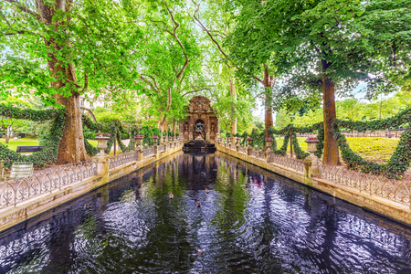 Medici Fountain in Luxembourg Palase-one of the most beautiful parks in Paris. France.