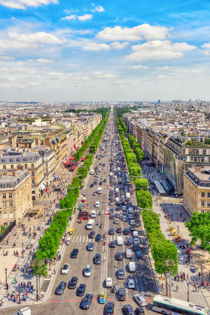 champs elysees: PARIS, FRANCE - JULY 06, 2016 : Beautiful panoramic view of Paris from the roof of the Triumphal Arch. Champs Elysees.