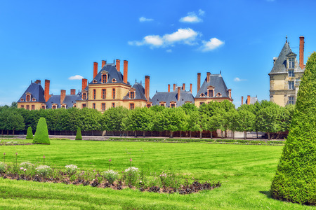 back alley: Suburban Residence of the France Kings - beautiful Chateau Fontainebleau and surrounding his park. Editorial