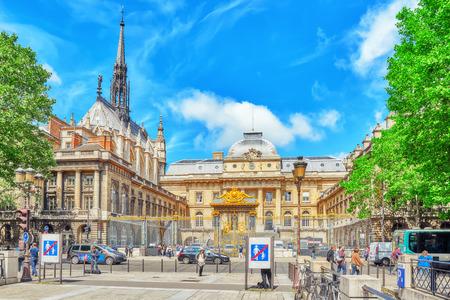 PARIS, FRANCE - JULY 04, 2016 : Paris Courthouse (Palais de Justice de Paris) with tourists  in Paris. France.