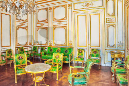FONTAINEBLEAU, FRANCE   JULY 09, 2016 : Fontainebleau Palace Interiors. The  White Salon