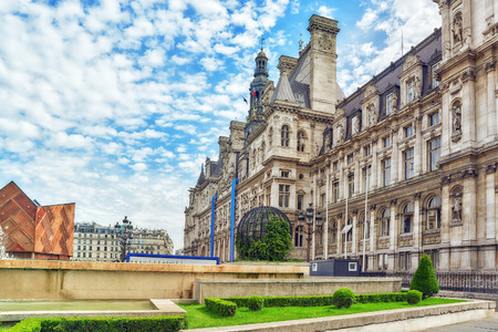 Hotel de Ville in Paris, is the building housing citys local administration,it has been the headquarters of the municipality  since 1357. France.
