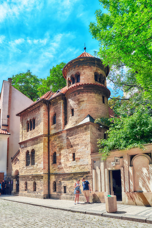 jewry: PRAGUE, CZECH REPUBLIC - JULY 11, 2016 : Staronowa (Old-New) Synagogue, situated in Josefov, Prague, is Europes oldest active synagogue. Editorial