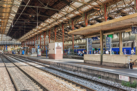 PARIS, FRANCE - JULY 09, 2016 :  High speed train at the North Railways station(Gare de Nord). Speed train is comfortable, speed and most convenience in France. Editorial