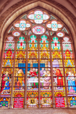 Stained glass inside Cathedral of St. Michael and St. Gudula  is a Roman Catholic church in Brussels, Belgium. Editorial