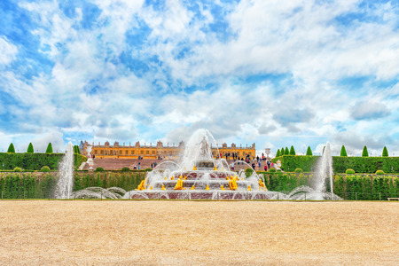 VERSAILLES, FRANCE- JULY 02, 2016 : Latona Fountain Pool, opposite the main building of the Palace of Versailles, created  by Sun-King Louis XIV. Editorial