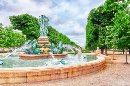 statuary garden: Fontaine de Observatoir near Luxembourg Garden in Paris. France. Stock Photo