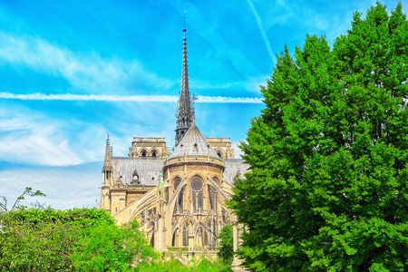 seafronts: Notre Dame de Paris Cathedral, most beautiful Cathedral in Paris. View from the River Seine. France.