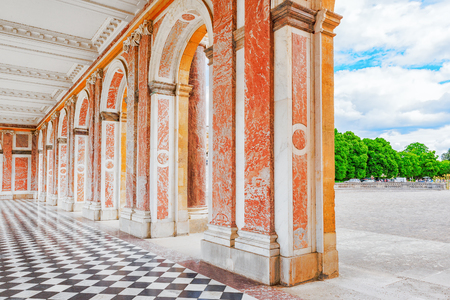 delightful: Grand Trianon-little pink marble and porphyry palace with delightful gardens. Chateau de Versailles.France.