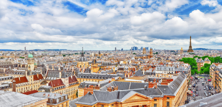 Beautiful panoramic view of Paris from the roof of the Pantheon. View of the Eiffel Tower.