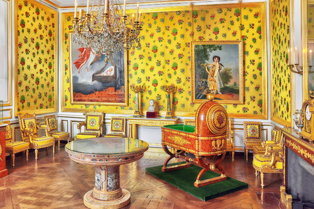 FONTAINEBLEAU, FRANCE - JULY 09, 2016 : Fontainebleau Palace interiors. Room king of Rome, a predictable heir. Chateau was one of the main palaces of French kings.
