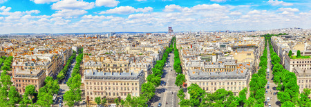 champs elysees: Beautiful panoramic view of Paris from the roof of the Triumphal Arch. Champs Elysees.