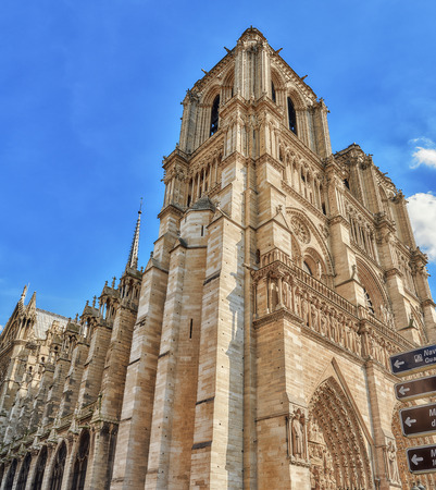 Front side of Notre Dame de Paris Cathedral, most beautiful Cathedral in Paris. France. Stock Photo