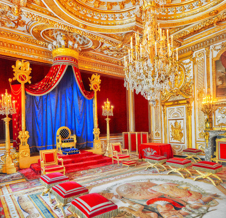 FONTAINEBLEAU, FRANCE - JULY 09, 2016 : Fontainebleau Palace interiors. The Throne Room. Chateau was one of the main palaces of French kings.