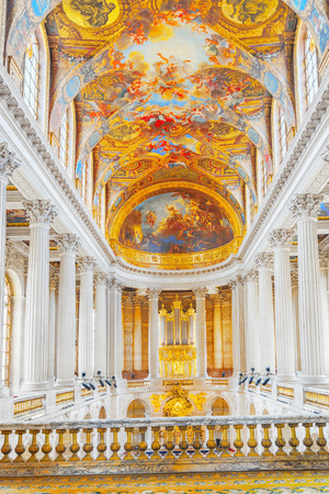 VERSAILLES, FRANCE - JULY 02, 2016:  Famous Royal Chapel inside Versailles Palace. Versailles was a Royal Chateau-most beautiful palace in France and word. Paris.