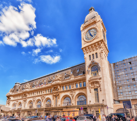 france station: PARIS, FRANCE - JULY 09, 2016 : Station Gare de Lyon is one of the oldest and most beautiful train stations in Paris. People, city views of one of the most beautiful cities in the world - Paris. Editorial
