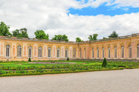 delightful: Grand Trianon-little pink marble and porphyry palace with delightful gardens. Chateau de Versailles. France.