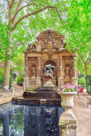 PARIS, FRANCE - JULY 08, 2016 : Medici Fountain near Luxembourg Palase-one of the most beautiful parks in Paris -Luxembourg  Park. France. Editorial