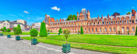 FONTAINEBLEAU, FRANCE - JULY 09, 2016 : Suburban Residence of the France Kings - beautiful Chateau Fontainebleau and surrounding his park. France. Editorial