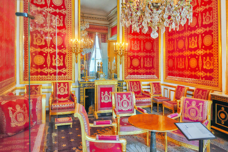 FONTAINEBLEAU, FRANCE - JULY 09, 2016 : Fontainebleau Palace interiors. Chateau was one of the main palaces of French kings. Suburbs of Paris.