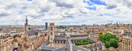Beautiful panoramic view of Paris from the roof of the Pantheon. View on Church of Saint-Etienne-du-Mont. Paris.