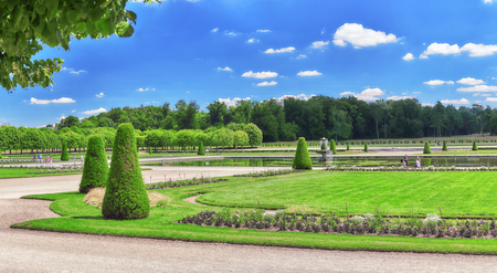 back alley: FONTAINEBLEAU, FRANCE - JULY 09, 2016 : Beautiful park near suburban Residence of the France Kings - Chateau Fontainebleau.