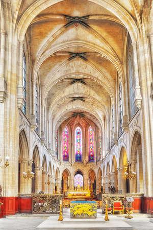 PARIS, FRANCE - JULY 06, 2016 : Indoor Saint-Germain lAuxerrois Church, near Louvre. Its construction in Roman, Gothic and Renaissance styles Paris. France.
