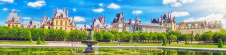 back yard pond: FONTAINEBLEAU, FRANCE - JULY 09, 2016 :Suburban Residence of the France Kings - beautiful Chateau Fontainebleau with the fountain on foreground.