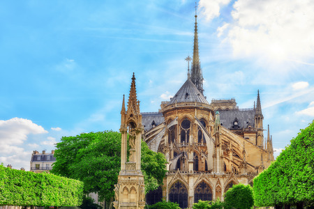 Notre Dame de Paris Cathedral, most beautiful Cathedral in Paris. East side of the Cathedral. France.
