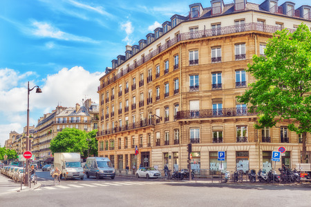 PARIS, FRANCE - JULY 04, 2016 : City views of one of the most beautiful cities in the world-Paris. Streets, buildings, cafes, people on the streets. France.