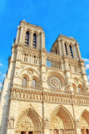Front side of Notre Dame de Paris Cathedral, most beautiful Cathedral in Paris. France. Editorial
