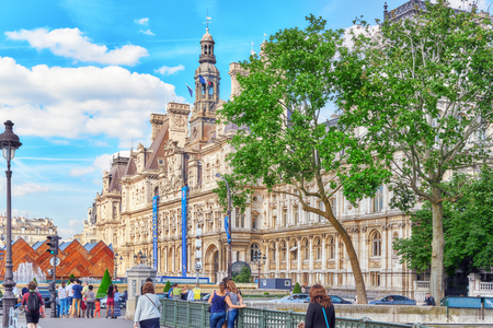 PARIS, FRANCE - JULY 06, 2016 : Hotel de Ville in Paris, is the building housing citys local administration,it has been the headquarters of the municipality  since 1357. France. Editorial
