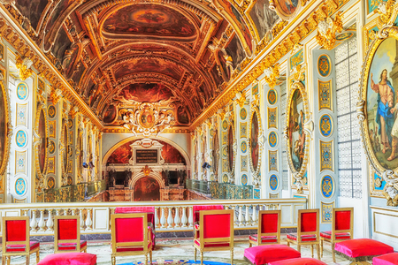 FONTAINEBLEAU, FRANCE - JULY 09, 2016 : Fontainebleau Palace interiors. The Room above the Chapel. Chateau was one of the main palaces of French kings.