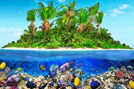 tiefe: Tropische Insel im Atoll im tropischen Ozean und wunderbare und schöne Unterwasserwelt mit Korallen und tropischen Fischen.