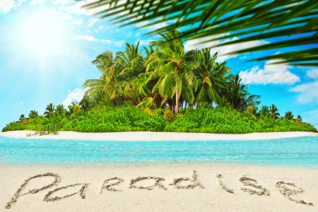 uninhabited: Whole tropical island within atoll in tropical Ocean. Uninhabited and wild subtropical isle with palm trees. Inscription Paradise in the sand on a tropical island.