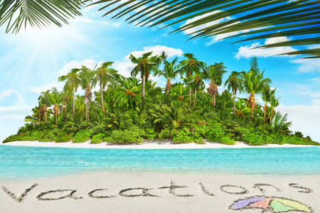 uninhabited: Whole tropical island within atoll in tropical Ocean. Uninhabited and wild subtropical isle with palm trees. Inscription Vacations in the sand on a tropical island,  Maldives.