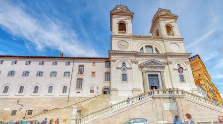 ROME, ITALY - MAY 10, 2017 : Trinita dei Monti church, Fraternita Monastica Delle Sorelle Di Gerusalemme and Obelisco Sallustiano on Spanish Steps Square.Rome. Italy.