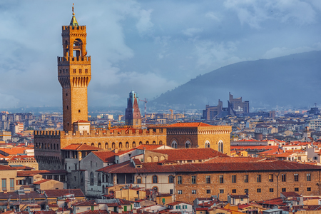 Palace Vecchio (Palazzo Vecchio) in Piazza della Signoria, built in 1299-1314 ,one of the most famous buildings of the city. Italy.
