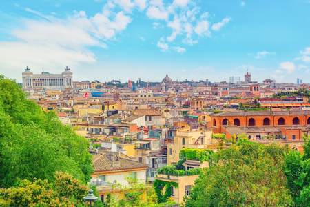 View of the city of Rome from above, from the hill of Terrazza del Pincio. Italy. Stock Photo