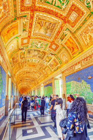 VATICAN-CITY, VATICAN- MAY 09, 2017: Inside the Vatican Museum, one of the largest museums in the world, Vatican.Gallery with ancient maps. Italy. Editorial
