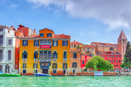 seafronts: VENICE, ITALY - MAY 12, 2017 :Views of the most beautiful canal of Venice - Grand Canal water streets, boats, gondolas, mansions along. Italy.