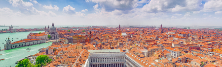 Panoramic view of Venice from the Campanile tower of St. Marks Cathedral-  St. Marks Square (Piazza San Marco). Italy.