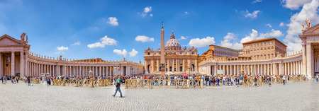 VITACAN-CITY, VATICAN- MAY 09, 2017 : St. Peters Square and St. Peters Basilica, Vatican City in the day time, tourist around. Italy. Editorial