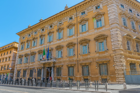 acquired: ROME, ITALY- MAY 09, 2017:  Beautiful landscape of Madama Palace (Palazzo madama). Palazzo Madama  in Rome is the seat of the Senate of the Italian Republic. Italy. Editorial