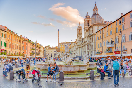 ROME, ITALY - MAY 09, 2017 : Piazza Navona  is a square in Rome, Italy. It is built on the site of the Stadium of Domitian, built in 1st century AD, and follows the form of the open space of the stadium. Italy.