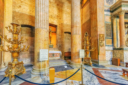 ROME, ITALY - MAY 09, 2017 : Inside  interior of the Pantheon, is a former Roman temple, now a church, in Rome, Italy.