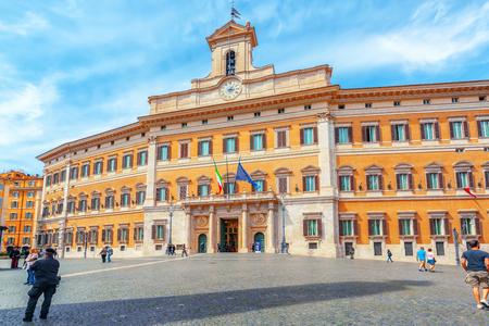 obelisco: ROME, ITALY - MAY 10, 2017 : Palazzo Montecitorio and Obelisk of Montecitorio (Obelisco di Montecitorio) on Piazza di Montecitorio, Rome. Italy.